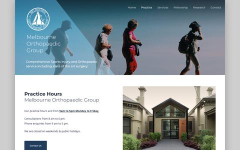 Screenshot of Hours Page mog.com.au - Practice Hours - Melboune Orthopaedic Group's hours of Operation - captured Nov. 15, 2018