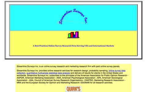Screenshot of Home Page streamlinesurveys.com - Online Survey Data Collection, Panel Development, Statistical Data Analyses and Registration for USA Survey Panel - captured Oct. 7, 2014