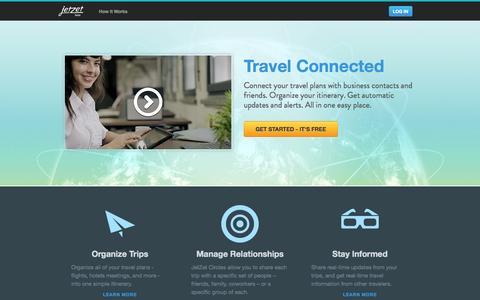 Screenshot of Home Page jetzet.com - JetZet | Travel Connected - captured Sept. 30, 2014