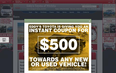 Screenshot of Hours Page eddystoyota.com - Toyota & Scion Sales Service Parts Hours | Wichita Auto Sales - captured Oct. 25, 2016
