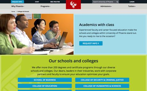 Screenshot of phoenix.edu - Online Colleges & Schools - captured Dec. 9, 2016