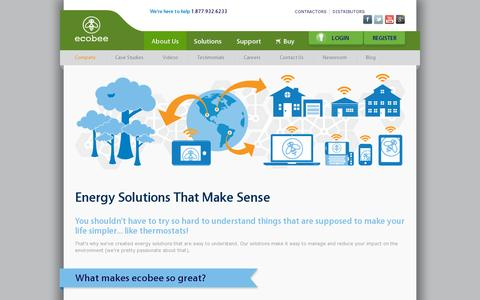 Screenshot of About Page ecobee.com captured July 21, 2014