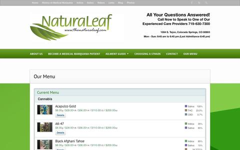 Screenshot of Menu Page thenaturaleaf.com - Our Menu | Naturaleaf - captured Oct. 27, 2014
