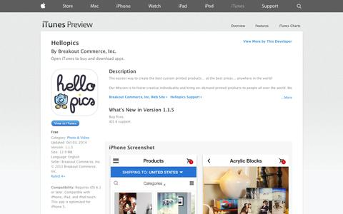 Screenshot of iOS App Page apple.com - Hellopics on the App Store on iTunes - captured Oct. 22, 2014
