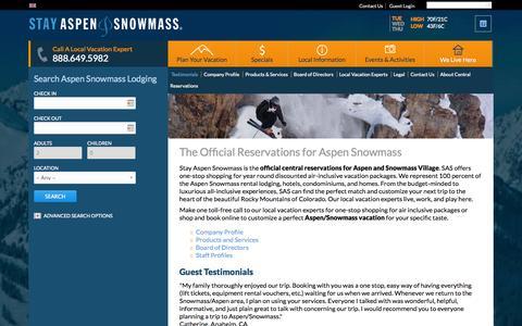 Screenshot of Testimonials Page stayaspensnowmass.com - Aspen Snowmass Official Central Reservations - captured Sept. 23, 2014