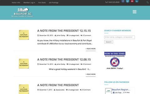 Screenshot of Blog beaufortchamber.org - Blog - Beaufort Regional Chamber of Commerce - captured Feb. 7, 2016