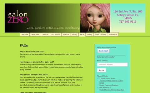 Screenshot of FAQ Page salonzero.com - FAQs - captured Sept. 30, 2014