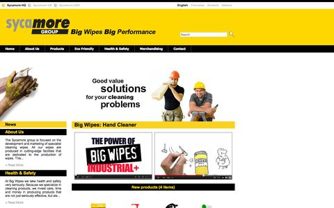Screenshot of Home Page sycamorewipes.net - Sycamore Group - Big Wipes Big Performance :: Home - captured Sept. 25, 2015
