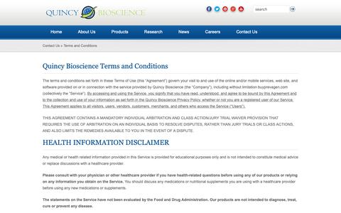 Screenshot of Terms Page quincybioscience.com - »  Terms and Conditions - captured Nov. 4, 2018