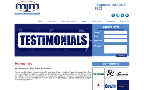 Screenshot of Testimonials Page martynmaddengroup.co.uk - MJM Cleaning & Maintenance Cardiff and Bristol areas - captured Oct. 27, 2014