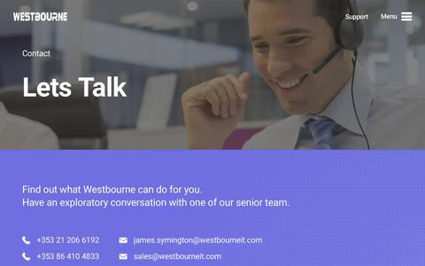 Screenshot of Contact Page westbourne.ie - IT Helpdesk | Westbourne - captured Oct. 20, 2018