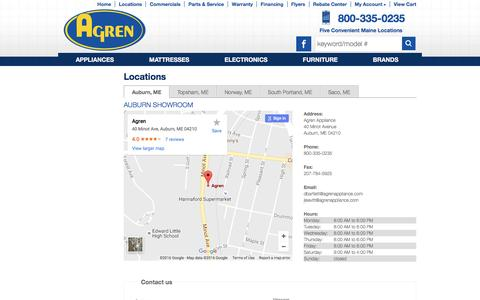 Screenshot of Contact Page Locations Page agrenappliance.com - Contact Agren Appliance in Maine - captured Nov. 20, 2016