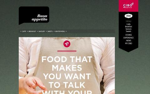 Screenshot of Menu Page ciboespresso.com.au - CIBO Espresso   Menu - captured Sept. 26, 2014