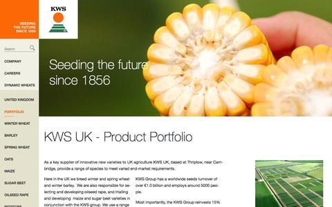 Screenshot of Products Page kws-uk.com - KWS UK Ltd. - Portfolio - captured Sept. 24, 2015