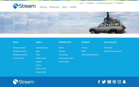 Screenshot of Press Page mystream.com - Server Error   Stream - captured April 10, 2017