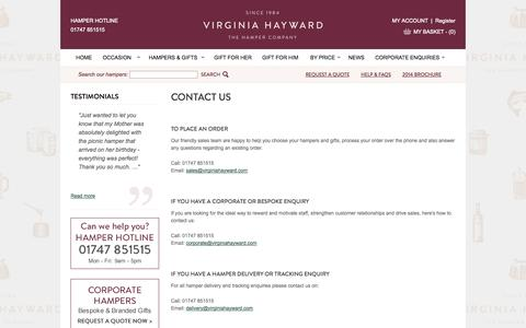 Screenshot of Contact Page virginiahayward.com - Contact Us with Queries or Feedback - captured Sept. 18, 2014