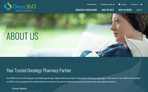 Screenshot of About Page onco360.com - About Onco360 Oncology Pharmacy | Onco360 - captured Oct. 19, 2018