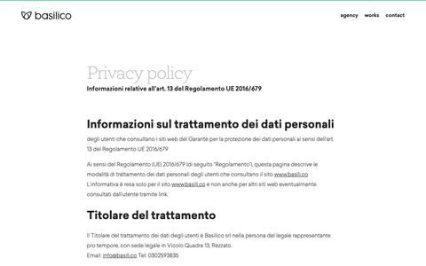 Screenshot of Privacy Page basili.co - Privacy policy – Basilico Creative Web Agency - captured Oct. 5, 2018