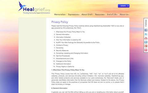 Screenshot of Privacy Page healgrief.org - Privacy Policy | HealGrief | HealGrief - captured Sept. 29, 2014