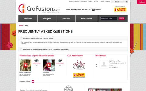 Screenshot of FAQ Page crafusion.com - FAQ @ CraFusion ::Crafusion.com Online Handicraft Shop – Handmade Ethnic Fashion Store         Ethnic Designer Clothes Online Store for Handmade Items - captured May 22, 2016