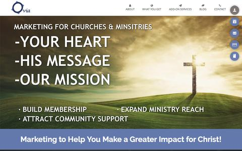 Screenshot of Home Page oviaconsulting.com - Ovia Marketing for Churches and Ministries - captured Feb. 26, 2016