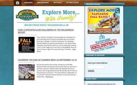 Screenshot of Blog wildernessresort.com - Blog - Wilderness Resort - captured Sept. 23, 2014