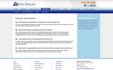 Screenshot of FAQ Page deltadallas.com - Frequently Asked Questions by Job Seekers - Delta Dallas - captured Aug. 1, 2016