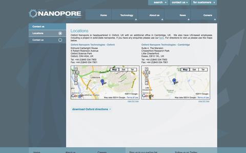 Screenshot of Locations Page nanoporetech.com - Locations - Contact us - Oxford Nanopore Technologies - captured Sept. 17, 2014