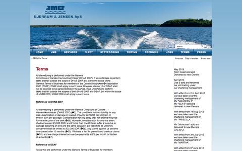 Screenshot of Terms Page jmb.dk - Terms - captured Oct. 4, 2014