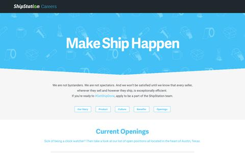 Screenshot of Jobs Page shipstation.com - Austin Texas Start-up SAAS Jobs | Careers | ShipStation ShipStation - captured April 18, 2018