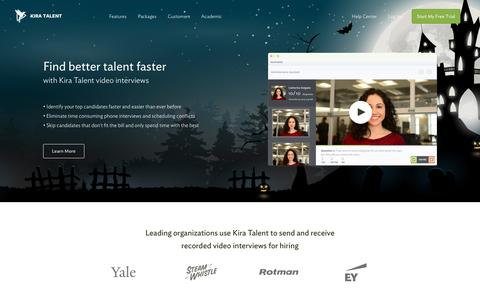 Screenshot of Home Page kiratalent.com - Online Video Interviews | Video Interviewing Made Easy - Kira Talent - captured Oct. 30, 2015