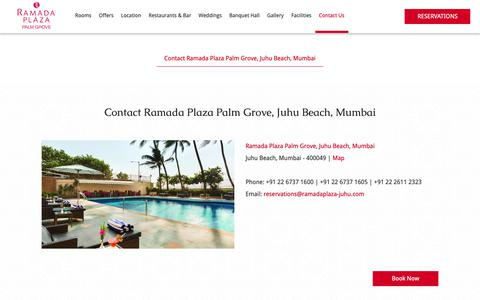 Screenshot of Contact Page ramadaplaza-juhu.com - Contact Ramada Plaza Palm Grove, Juhu Beach | Hotels near Mumbai Airport - captured Oct. 18, 2018