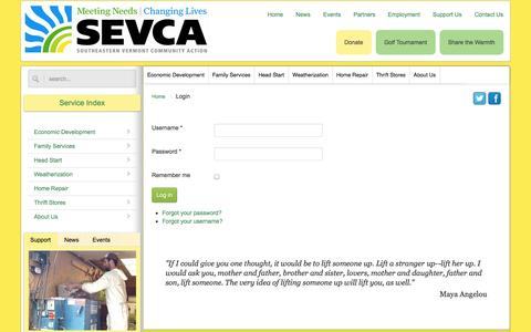 Screenshot of Login Page sevca.org - Login - SEVCA - captured Oct. 1, 2014