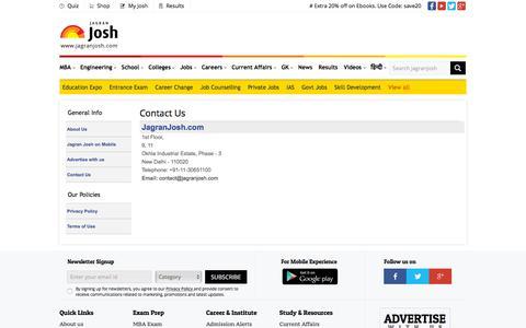 Screenshot of Contact Page jagranjosh.com - Contact Jagranjosh.com, an Online E-study Center - captured Sept. 21, 2018