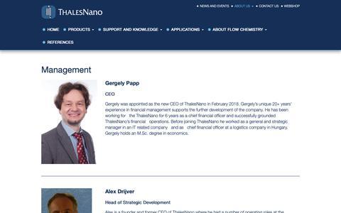 Screenshot of Team Page thalesnano.com - Management - ThalesNano - captured Dec. 13, 2018