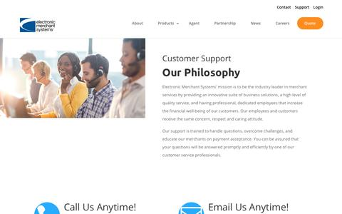 Screenshot of Support Page emscorporate.com - Customer Support & Service | Electronic Merchant Systems - captured Jan. 9, 2019