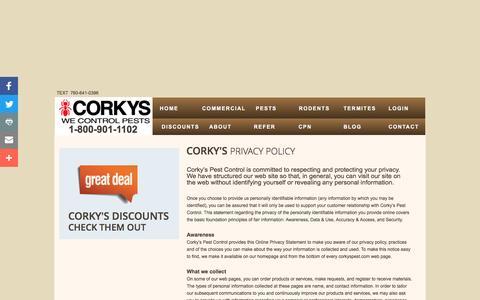 Screenshot of Privacy Page corkyspest.com - Corky's Pest Control: Privacy Policy - captured Nov. 5, 2016
