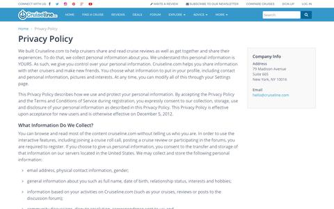 Screenshot of Privacy Page cruiseline.com - Privacy Policy - Cruiseline.com - captured Aug. 31, 2017