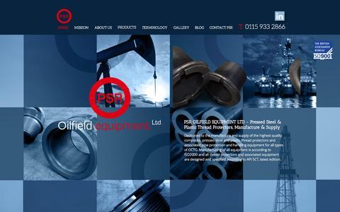 Screenshot of Home Page psroilfield.com - Pressed steel, plastic, thread protectors | PSR Oilfield Equipment - captured Oct. 1, 2014