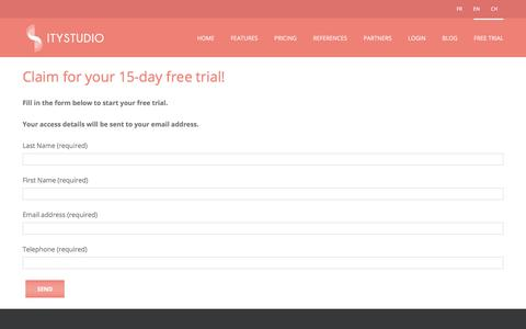 Screenshot of Trial Page itystudio.com - Free trial contact form - ITyStudio - captured Jan. 12, 2018