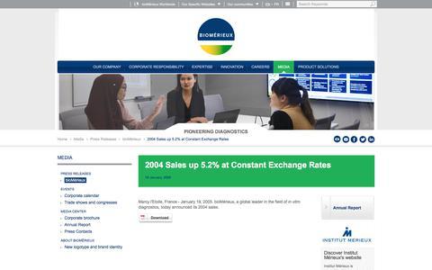 Screenshot of Pricing Page biomerieux.com - 2004 Sales up 5.2% at Constant Exchange Rates | bioMérieux Corporate Website - captured Dec. 12, 2019