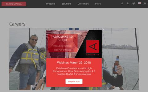 Screenshot of Jobs Page aerospike.com - Careers at NoSQL Key Value Database Company - captured March 13, 2018