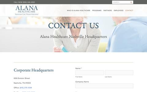 Screenshot of Contact Page alanahealthcare.com - Contact Us - Alana HealthCare Nashville TN - captured Oct. 7, 2017
