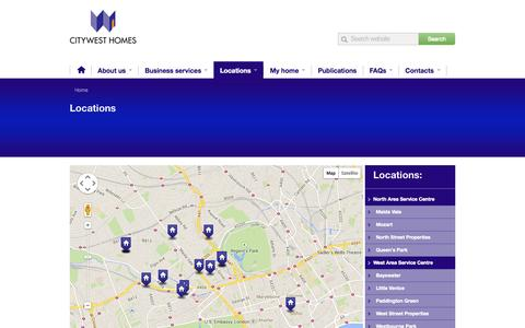 Screenshot of Locations Page cwh.org.uk - CityWest Homes - captured Oct. 2, 2014