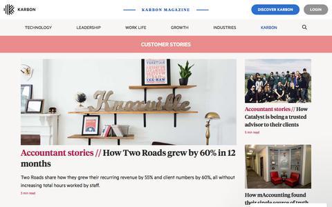 Screenshot of Case Studies Page karbonhq.com - Customer Stories | Karbon resources - captured Aug. 16, 2019