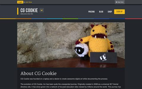 Screenshot of About Page cgcookie.com - About CG Cookie - CG Cookie - captured Sept. 18, 2014