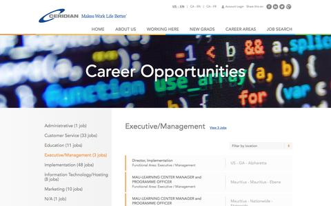 Screenshot of Jobs Page ceridian.com - Executive/Management Careers | Career Opportunities | Careers at Ceridian | Join a global leader in human capital management technology! - captured Jan. 18, 2017