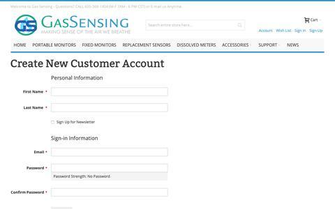 Screenshot of Signup Page gas-sensing.com - Gas Sensors Create New Customer Account  - Gas-Sensing.com - captured Dec. 5, 2018