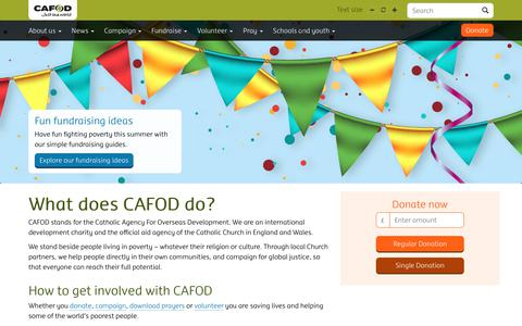 Screenshot of Home Page cafod.org.uk - Catholic international development charity | CAFOD - captured July 15, 2018