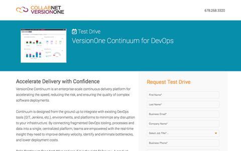 Screenshot of Landing Page versionone.com - VersionOne Continuum for DevOps Test Drive - captured May 18, 2018